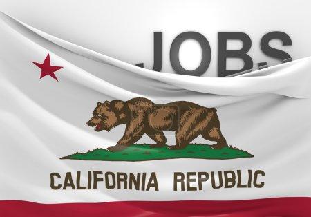 Foto de Imagen conceptual de puestos de trabajo en California, acompañado por la bandera del estado. - Imagen libre de derechos