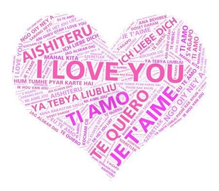 Photo pour Word cloud art des mots Je t'aime en plusieurs langues formant un cœur rose . - image libre de droit