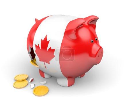 Photo pour Une tirelire cassée peinte avec le drapeau canadien. L'argent tombe d'un trou dans le côté . - image libre de droit