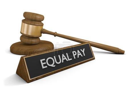 Photo pour Concept juridique du Tribunal de l'application égale payer peu importe le sexe, la race ou âge. - image libre de droit