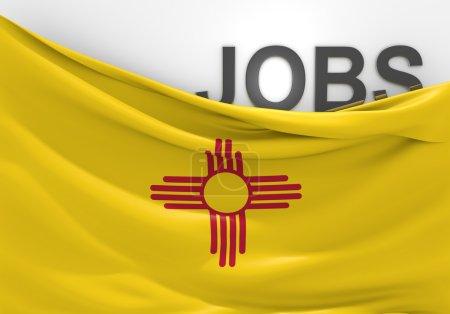 Foto de Imagen conceptual de puestos de trabajo en Nuevo México, acompañados por la bandera del estado. - Imagen libre de derechos