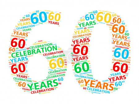 Colorful word cloud for celebrating a 60 year birthday or anniversary