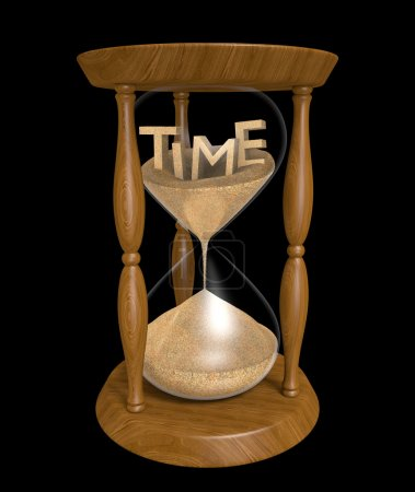Concept of time passing an old wooden hourglass as...