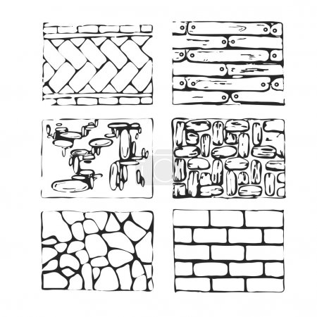 Hand drawn paving stones and blocks.