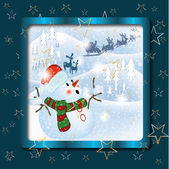 christmas snow man in stars background blue idee