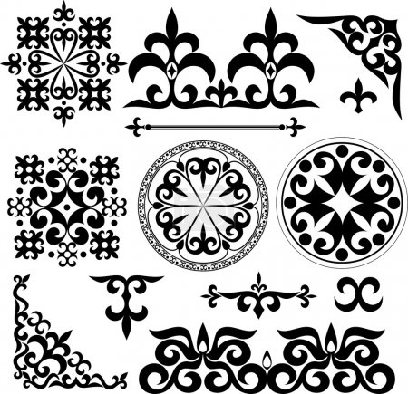 Illustration for Set Kazakh Asian ornaments and patterns - Royalty Free Image
