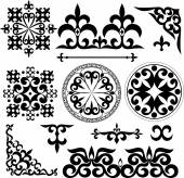 Set Kazakh Asian ornaments and patterns