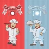 Two chefs with a dish on your hands To design a menu and invita