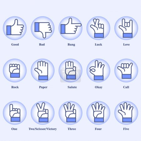 Illustration for 15 hand signs set on blue background - Royalty Free Image