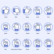 15 hand signs set on blue background...