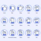 15 hand signs set on blue background