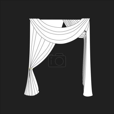 Illustration pour Esquisse rideaux de fenêtre design. décoration intérieure - image libre de droit