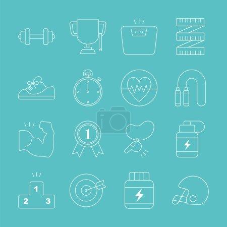 Sport line icon set