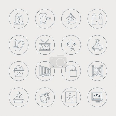 Illustration for Toy line icon set - Royalty Free Image