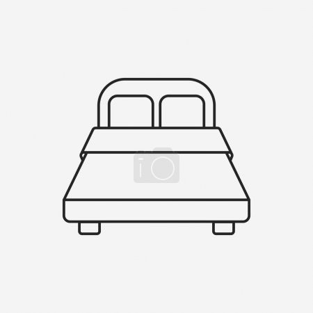 Illustration for Bed line icon - Royalty Free Image