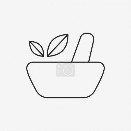Illustration for Herbal bowl line icon - Royalty Free Image
