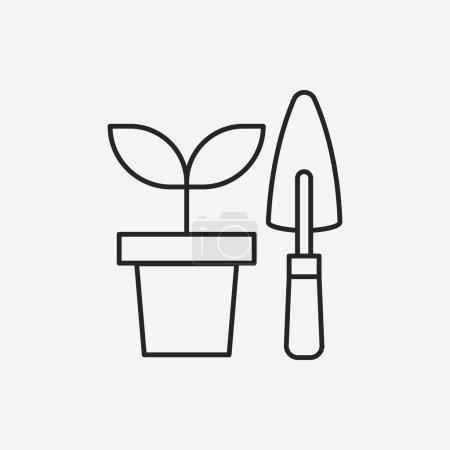 Illustration pour Jardinage cisailles ligne icône - image libre de droit