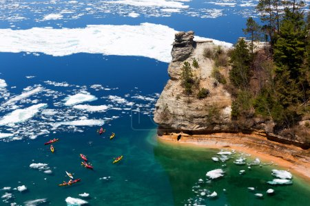 Kayaks & Ice Floes at Miners Castle - Pictured Rocks National La