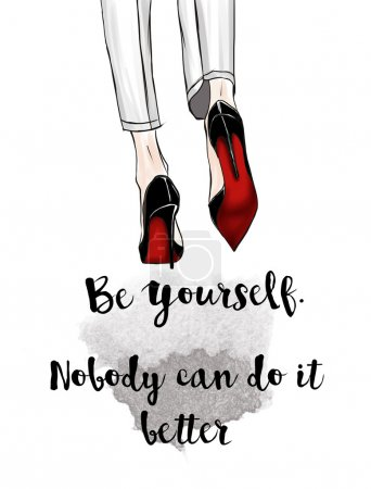 Photo for Fashion Illustration - Funny Quotation on White background and stiletto shoes - Royalty Free Image