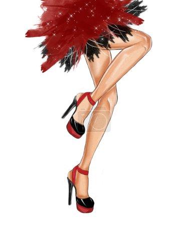 Watercolor hand drawn fashion Illustration of dancing legs