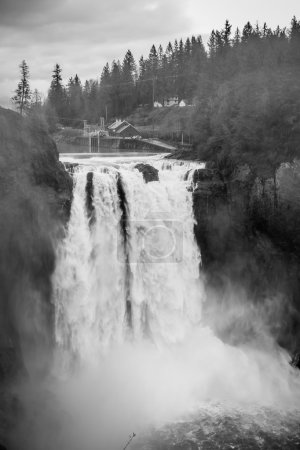Powerful Snoqualmie Falls BW