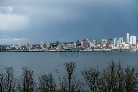 Seattle Cityscape With Rain Clouds