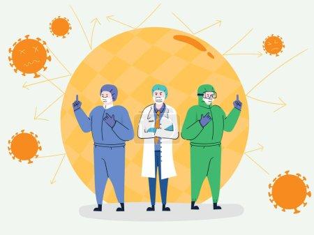 Photo pour Personnel médical pour prévenir le virus COVID-19, nettoyage et désinfection pour bannir les cellules virales, bannière - Illustration vectorielle - image libre de droit