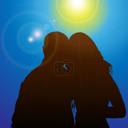Illustration for Silhouette couples in the sunshine; color image; vector illustration. - Royalty Free Image