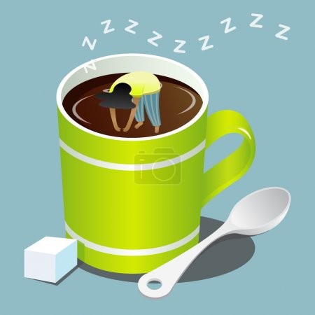 Girl sleeping in green mug of coffee