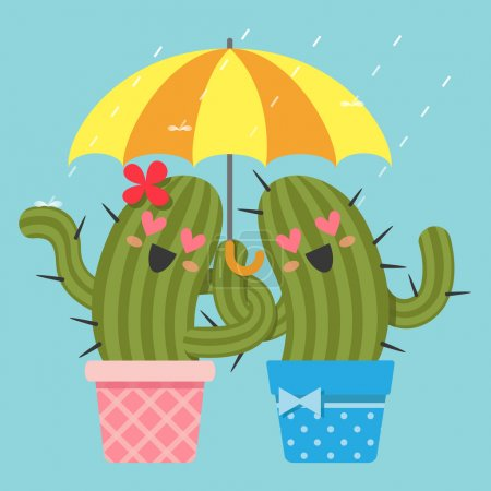 The loving couple of cactus with umbrella