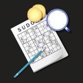 illustration of Sudoku game mug of milk and cracker