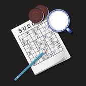 Illustration of Sudoku game mug of milk and chocolate cookies
