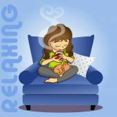 Illustration of girl holding coffee cup while sitting on sofa with cat