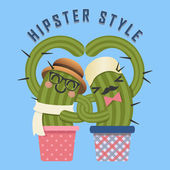 Loving couple of hipster cactus arm in arm