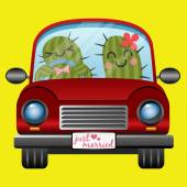 Just married couple of cactus driving a red car in honeymoon trip