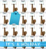 blue polo t-shirt and white shirts with brown neckties