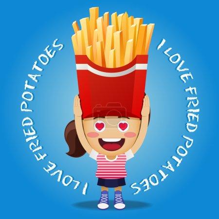 Illustration pour Femme heureuse portant de grosses pommes de terre frites ou frites - image libre de droit