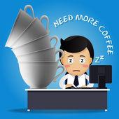 sleepy man working on computer and many big coffee cups