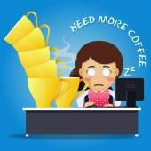 sleepy woman working on computer and many big coffee cups