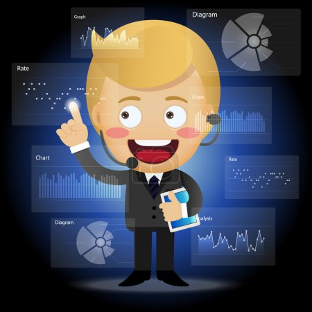 Happy businessman working with data processing