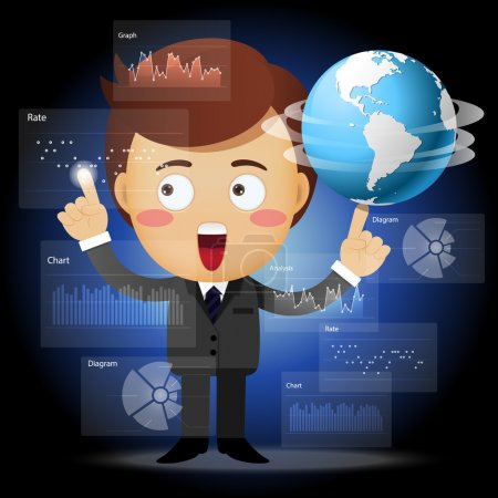 businessman with globe working with data processing