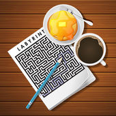 illustration of labyrinth game with coffee cup and pancake