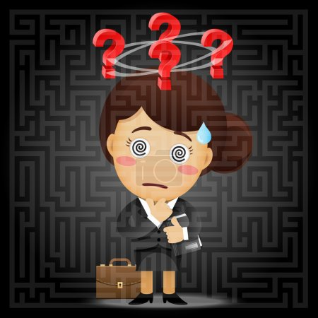 Illustration for Confused business woman with question mark solving the solution of a complex maze - Royalty Free Image