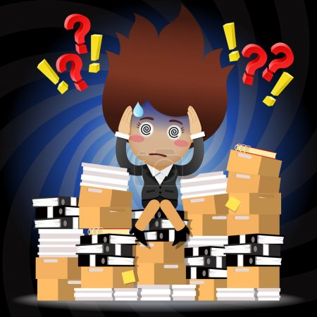 Confused business woman sitting on pile of documents