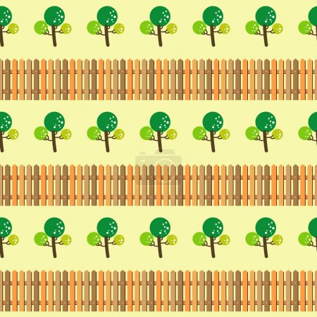 Trees and fence seamless pattern