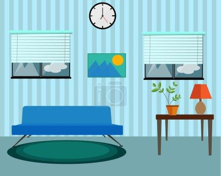 Illustration for Living room design cool design. - Royalty Free Image