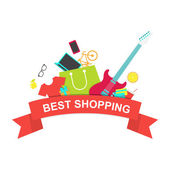 Best shopping emblem Red ribbon with shopping bag and other pro