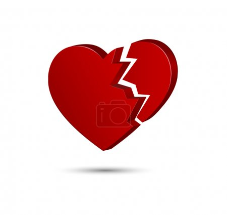 Illustration for Red broken heart three dimensional shape on white background - Royalty Free Image