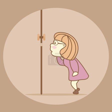 Naughty girl spying, peeping through the keyhole