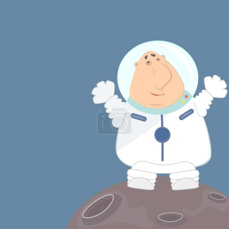 Funny astronaut in a white space suit waving his arms